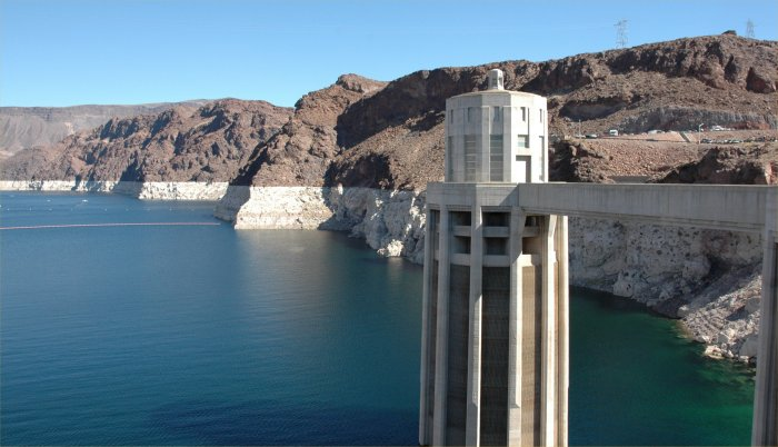 Lake Mead's water level has dropped over 120 feet below capacity in recent years